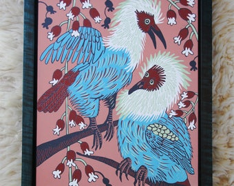 Mauritius Blue Pigeon, colorful woodcut, wall art, framed in teal curly maple