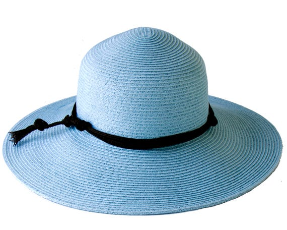 Wide Brimmed Straw Hat Sun Shade Hat SPF50 Sunblock Crushable Hat Western Style Travel Hat Light Blue Straw Beach Hat Festival Sunhat