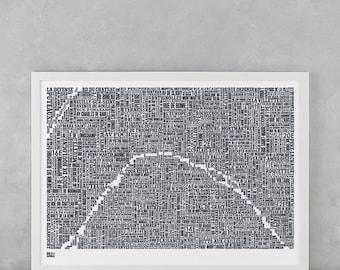 Paris Type Map Screen Print, Paris Word Map, Paris Font Map, Paris Wall Poster, Paris Artwork, Paris Wall Art, Paris Typographic Art Poster