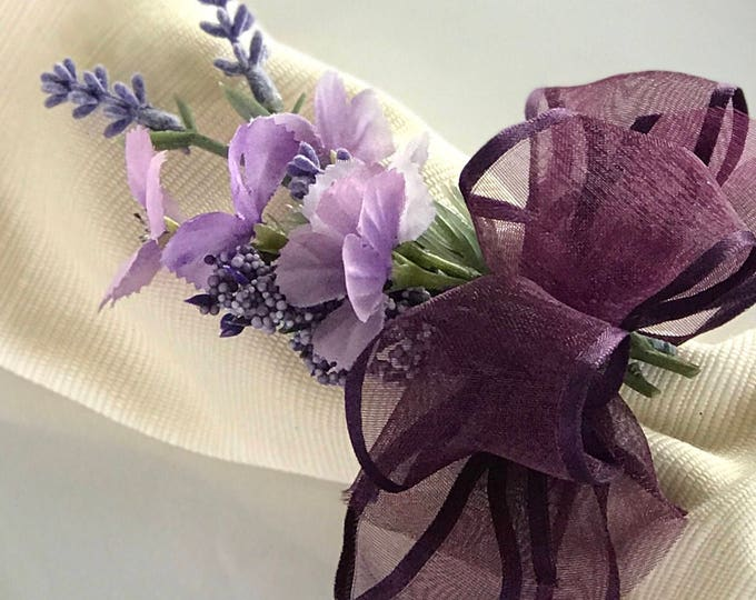 Featured listing image: Napkin Rings - Purple flower bouquet - Wedding Decoration - Wedding Showers - Easter