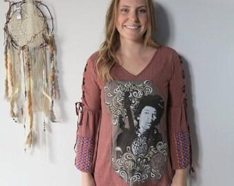 Jimi Hendrix Woven Detail Bell Sleeve Top Bohemian Shirt Size Small