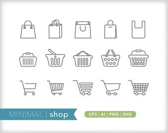 Minimal shop line icons | EPS AI PNG | Geometric Business Clipart Design Elements Digital Download
