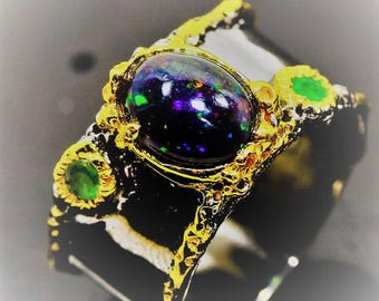 14 K gold over  925 Sterling silver  Ring/ band  with  Black Opal ,Very Elegant