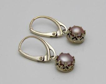 Lavender Pearl earrings, bezel set drops on sterling silver lever back ear wires
