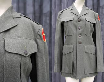 Vintage Wool Green Military Unisex Blazer Coat Jacket Outerwear