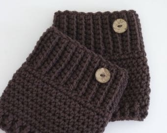 Crochet Boot Cuffs Button Accent Crochet Boot Topper Leg Warmer in Brown - Ready to Ship  - Direct Checkout