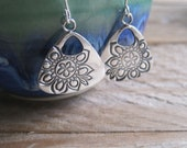 Silver Flower Earring, Bohemian Dangle Earrings, Boho Earrings, Stamped Flower Earrings, Triangle Earrings