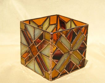 Geometric Candleholder Stained Glass Candle Holder in Brown, Burgundy, and Yellow Candle Holder Glass Candleholder Stained Glass Box