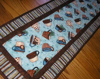 Quilted Table Runner,Coffee/Tea Themed Runner,   14 x 40 inches