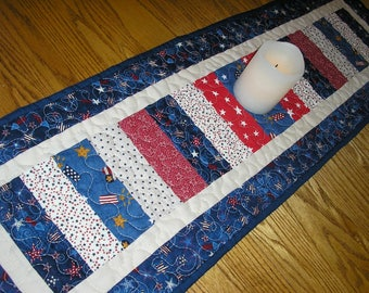 Quilted Table Runner, Patriotic Runner,  Stacked Coins Runner, Quilted Americana Runner, 12 x 39 1/2 inches
