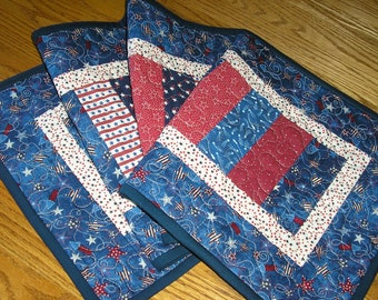 Quilted Table Runner, Patriotic Runner,  Stacked Coins Runner, Quilted Americana Runner, 13 x 40 inches
