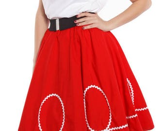 50s Retro Red Circle Skirt with White Ric Rac Loops - Vintage Inspired for Pinup, Swing, 50s Style - size Small / Medium