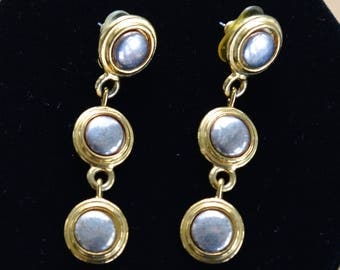 "Gold, Silver Dangle Pierced Earrings, Vintage, Long, ""Liz Claiborne"" (AB11)"