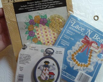 Sewing Kits, Three Sewing Kits, Cross Stitch Kit, Applique Ribbon, Weave Kit, Lace n Bead Kit, Sewing Crafts, Art,Home Decor,Sewing Supplies