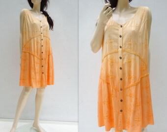 Ombre Dress 90s Orange Dress Embroidered Dress Vintage Boho Dress Vintage Sundress Peach Dress Babydoll Dress Mini Dress O/S s, m to size l
