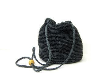 Vintage 90s Woven Drawstring Purse Chic Bucket Bag Minimal Dark Blue Black Slouchy Shoulder Sling Purse Preppy Boho Backpack Hipster Tote