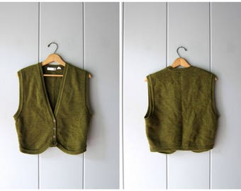 90s Olive Green Wool Sweater Preppy Merino Wool Sweater Vest Vintage Cropped Sweater Vest Button Up Sweater Top Womens Large