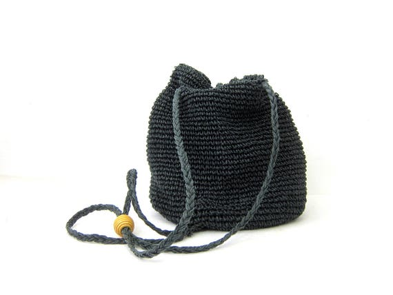 Vintage 90s Woven Drawstring Purse Chic Bucket Bag Minimal Dark Blue Black Slouchy Shoulder Sling Purse Preppy Boho Backpack Hipster Tote
