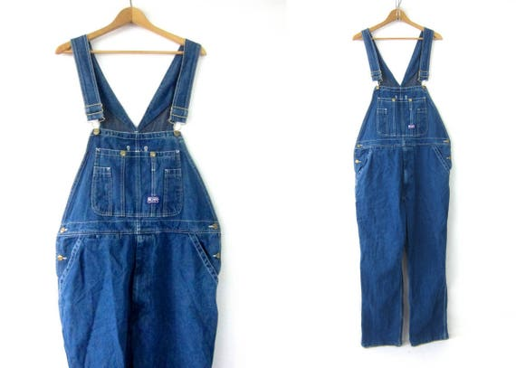 Vintage Jean Bib Overalls Denim Big Smith Carpenter Engineer Work Pants Dark Blue Farmer Bibs workwear Jeans Men's size 38 x 32