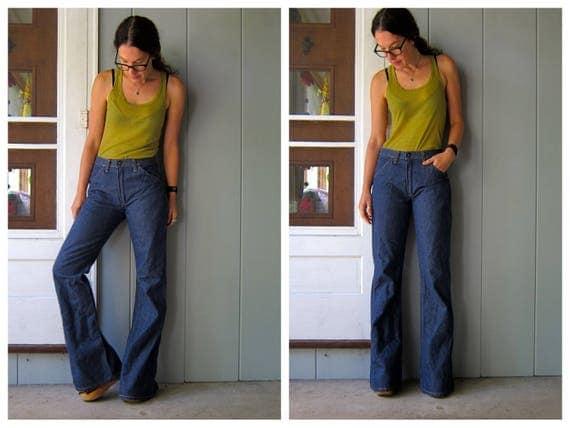 "70s Bell Bottoms Jeans Dark Blue Denim Jeans Boho Hippie High Waist Boyfriend Jeans Extra Wide Leg Jeans Tall Jeans Womens Small 26"" 27"""