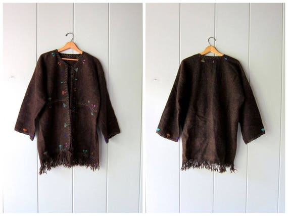 Guatemalan Sweater Coat Thick Brown Woven Wool Jacket 70s Hand Woven Ethnic Stitched Embroidered Tribal Wool Fringed Coat Womens XL