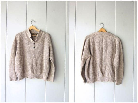 Oversized Oatmeal Sweater Button Up Henley Slouchy Boyfriend Pullover Ribbed Cotton Knit Beige Marled Sweater Chunky Sweater Mens Medium