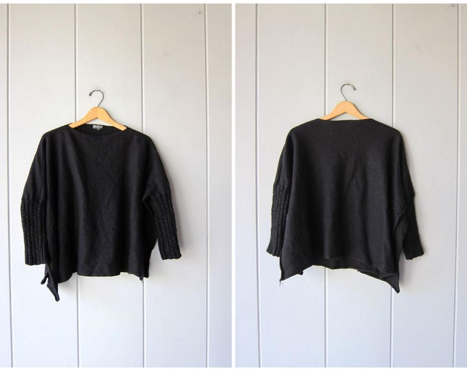 90s Black Wool Sweater Felted Wool Cropped Sweater Vintage Oversized OPEN SLIT Minimal Sweater Basic Italian Crop Knit Womens Small Medium