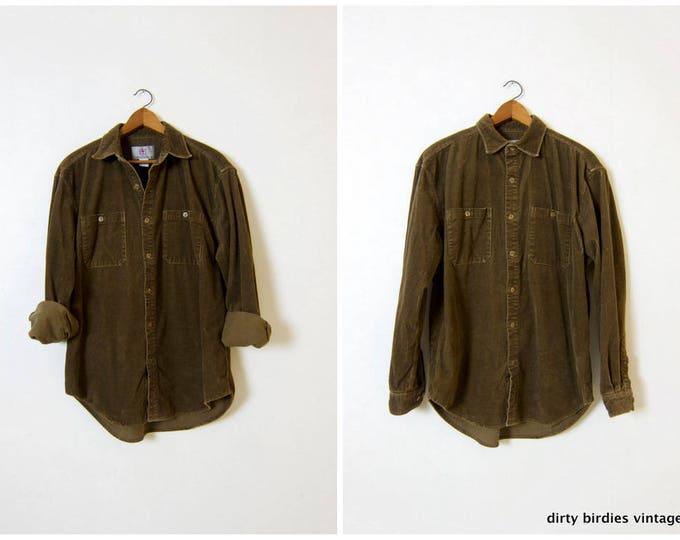 Green Corduroy Shirt | 90s Oversized Ribbed Shirt | Slouchy Grunge Top 1990s Army Green Cotton Rib Shirt Large