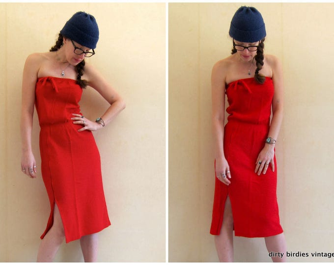 80s Tube Dress | Red Sexy Sundress | Vintage Swimsuit Cover High Slit Dress Midi Sun Dress Womens XS Small