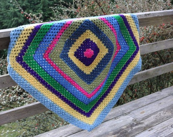 Rainbow Afghan Square Blanket Granny Square Rainbow Crochet Blanket Lap size afghan stroller blanket toddler afghan throw afghan