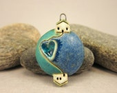 Mother & Son...Planet Pendant by elukka...Stoneware and Recycled Glass