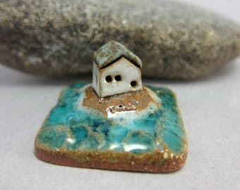 RESERVED for tdover 23 RESERVED MyLand - Silent Waves...Collectible 3x3 cm or 1.2x1.2 in. puzzle in stoneware