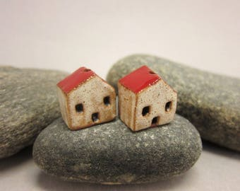READY TO SHIP...Miniature Terracotta House Beads...Set of 2...Eggshell Walls/Red Roof