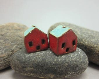 READY TO SHIP...Miniature Terracotta House Beads...Set of 2...Red Walls/Turquoise Green Roof