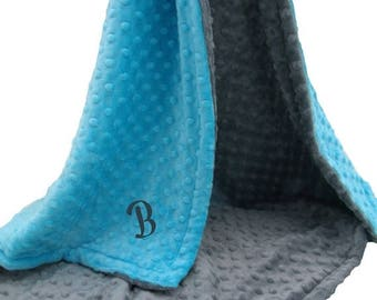 SALE Aqua Turquoise and Gray Minky Dot Baby Blanket Can Be Personalized