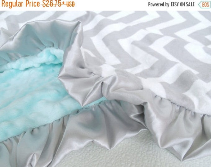 SALE Minky Blanket in Gray Chevron and Spa Green, Saltwater and Gray Chevron Baby Blanket, available in three sizes Can Be Personalized