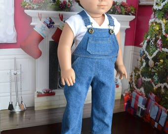 18 inch Doll Clothes - Medium Wash Overall Blue Jean with real pockets - Country Style - boy or girl dolls - fit American Girl