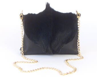 "Black Springbok Fur Handbag ~ ""BRISTOL"" Bag"