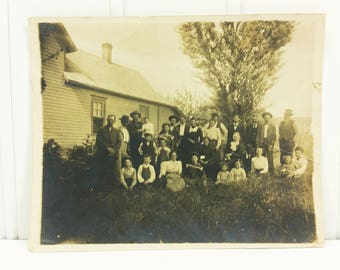 Family Reunion Found Photo, Hunt's Family Gathering Circa early 1900's Snapshot Photograph