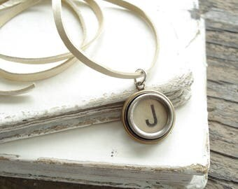 Typewriter Key Jewelry. Letter J Necklace. Vintage Typewriter Key Necklace. Personalized Initial. Adjustable Leather Necklace. Unisex Gift.
