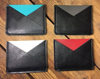 leather card holder, minimalist wallet, mens leather wallet, mens front pocket wallet, front pocket wallet, money clip