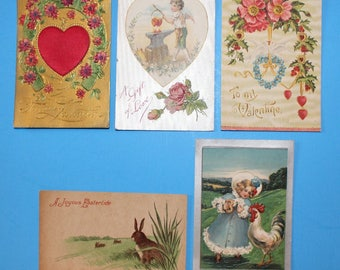 Antique Post Cards from 1908, Easter and Vallentine, Early 1900's