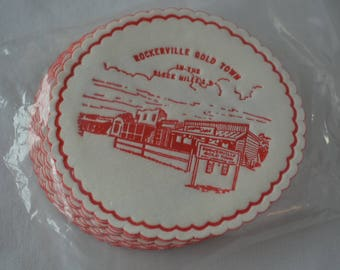 Vintage ROCKERVILLE GOLD TOWN coaster set new in package 1950's