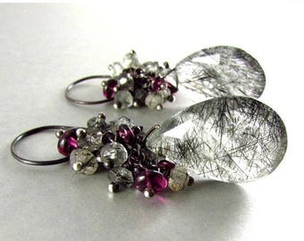 25 OFF Rutilated Quartz With Rhodolite Garnet Wire Wrapped Earrings