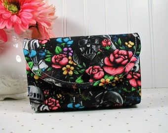Black Floral Wars Snap Pouch/ Star Wars Pouch /Floral Star Wars Pouch