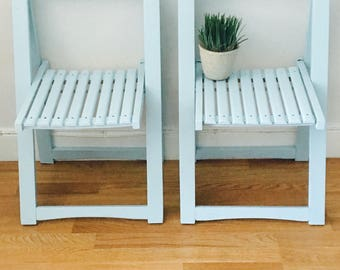 vintage mid century wood folding painted cottage blue 1950's pair of framed folding chairs apartment living chairs