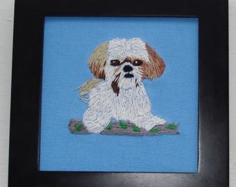 Shih Tsu Dog Portrait, Hand Embroidered