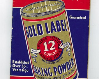 vintage 1930-40s gold label baking powder  recipes booklet