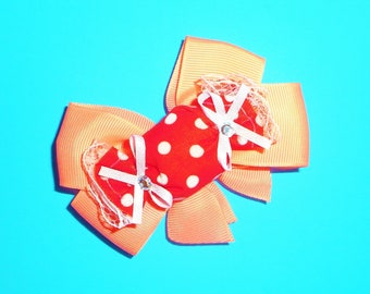 Coral Candy Bow Barrette