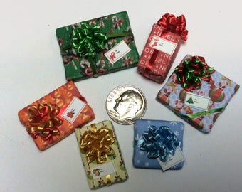 Six Assorted Miniature Christmas Packages set #203